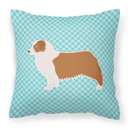 Carolines Treasures BB3733PW1818 Australian Shepherd Dog Checkerboard Blue Fabric Decorative Pillow