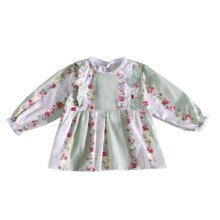 Lovely Girl's Long-sleeves Bib Overalls Feeding Clothes Baby Bibs, M