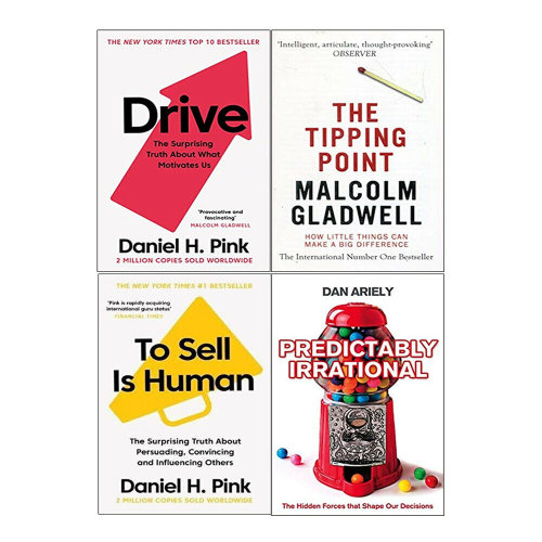 Predictably Irrational,Drive,Sell is Human,Tipping Poin 4 Books Set