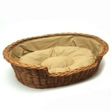 Extra Extra Large Medium Willow Dog Cat Pet Wicker Basket Light Colour Cushion
