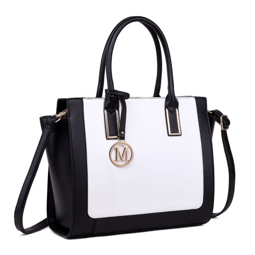 Miss Lulu Women Leather Handbag Shoulder Bag Tote Black White