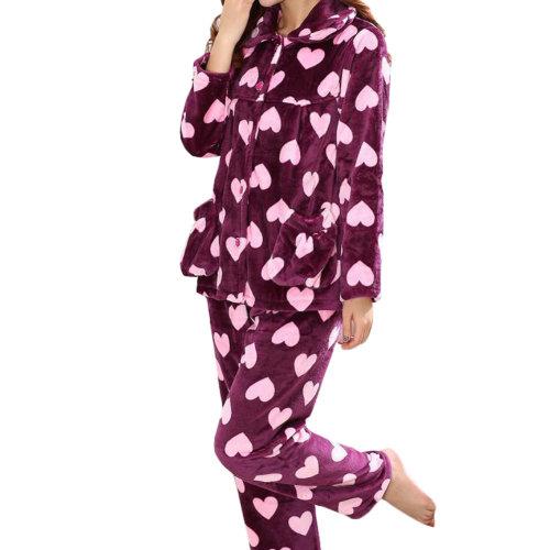 Casual Pajama Set Warm Sleepwear Home Apparel Flannel Pajamas X-large-A9