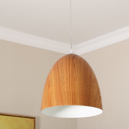 HOMCOM Ceiling Hanging Lamp Shade-Wood Grain Colour/White