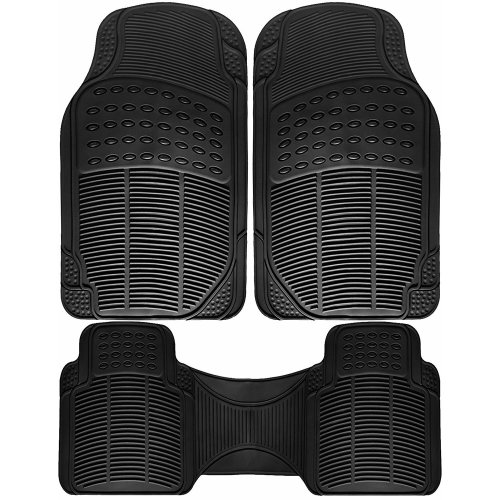 3pc Heavy Duty Car Floor Rubber Mat - Universal Fit