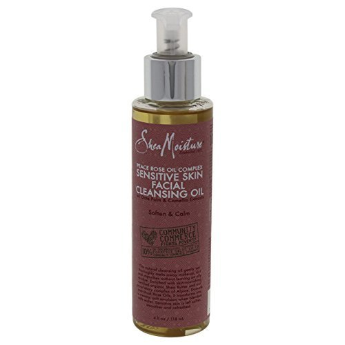 Shea Moisture Peace Rose Oil Complex Sensitive Skin Cleansing Oil for Unisex, 4 Ounce
