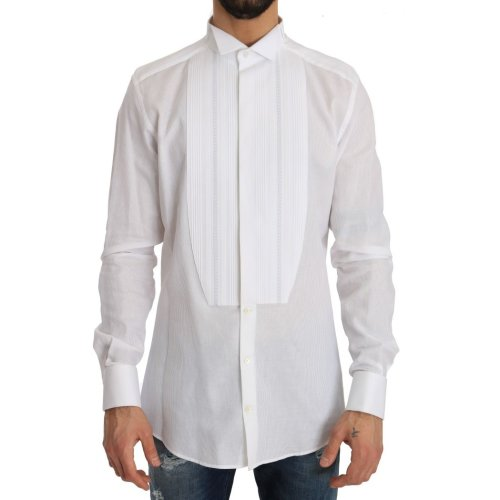 Dolce & Gabbana White Cotton Slim Fit Shirt