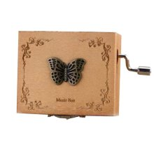 Wooden Music Box Mini Hand Crank Music Box Height Approx 1.3 Inch ?¨Butterfly??
