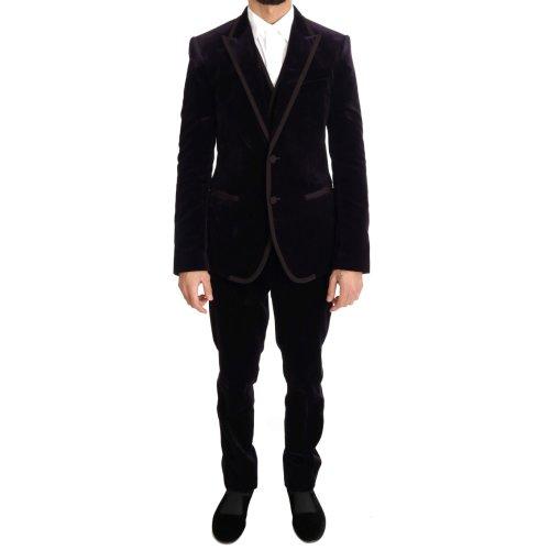 Dolce & Gabbana Purple Velvet Slim Fit Two Button Suit
