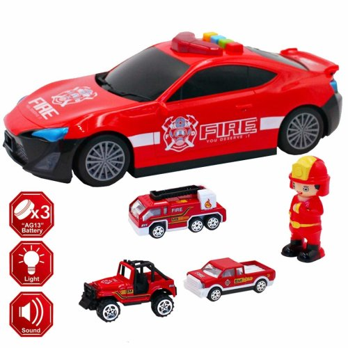 deAO 3-in-1 Die-cast Construction/Fire Truck Vehicle with Portable Carry Case Play Set for Kids