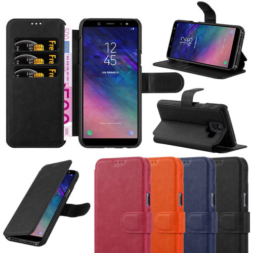 For Samsung Galaxy A6 Leather Wallet Case Cover
