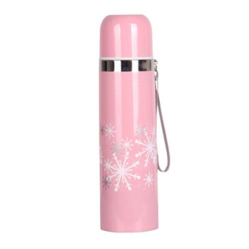Snow Pattern Stainless Steel Vacuum Drink Bottle Travel Mug 500ML, Pink