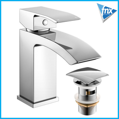 Square Basin Mono waterfall style spout with Free square waste