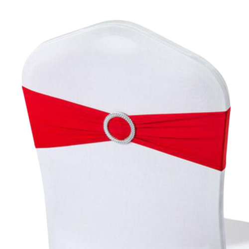 10PCS Chair Back Wedding Bow Sashes Chair Cover Bands With Buckle-Red
