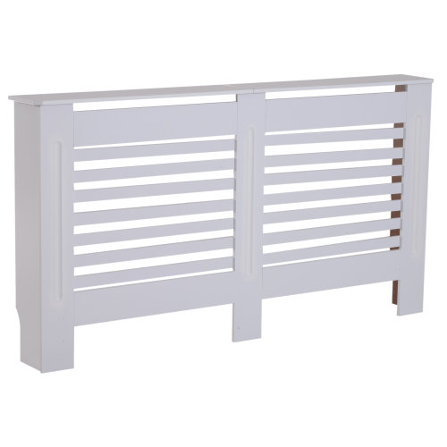 HOMCOM MDF White Painted Radiator Cover Slatted Cabinet Shelving Display Horizontal Style Modern Piece 172L x 19W x 81H cm