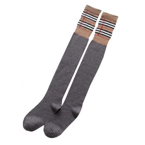 Women Beautiful Knee High Socks with Stripe Fashion Socks 2 Pairs - Grey