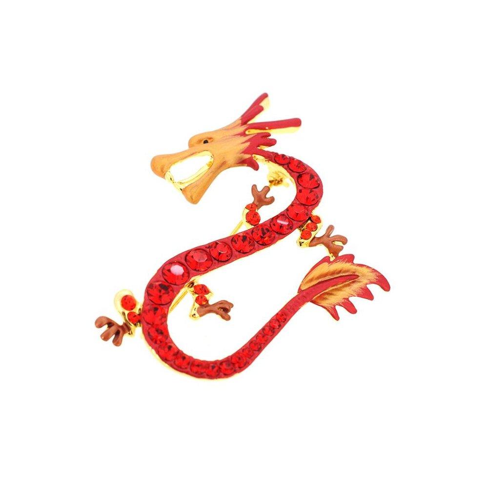 Fantasyard Ruby Dragon Swarovski Crystal Pin Brooch - Red - 2 5 x 1 875 in
