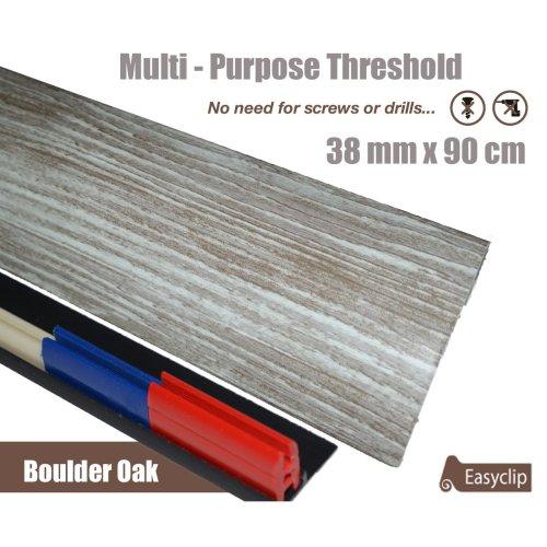 Boulder Oak Multi Purpose Threshold Strip 38x90cm Adhesive Clip System