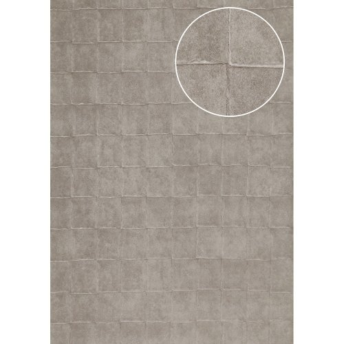 Atlas INS-5080-3 Stone tile wallpaper metallic effect platinum-grey 7.035sqm