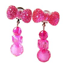 2 Pairs Girls Clip-on Earrings Princess Pendant Earclips Bow Rose