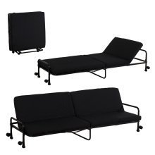 Homcom Recliner Sofa Bed with Wheels and Armrest in Black
