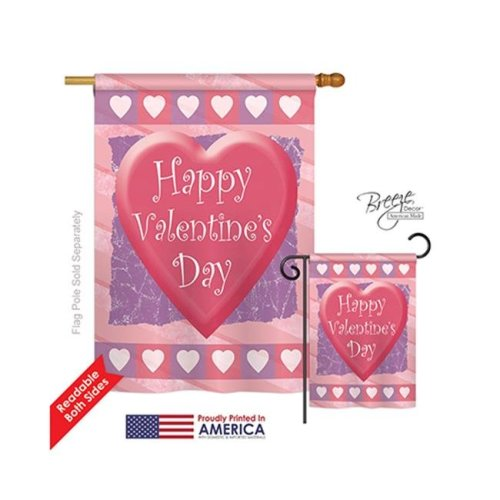 Breeze Decor 01047 Valentines Heart 2-Sided Vertical Impression House Flag - 28 x 40 in.