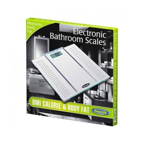 Silver Sentik BMI Calorie & Body Fat Bathroom Weighing Scales Digital Display