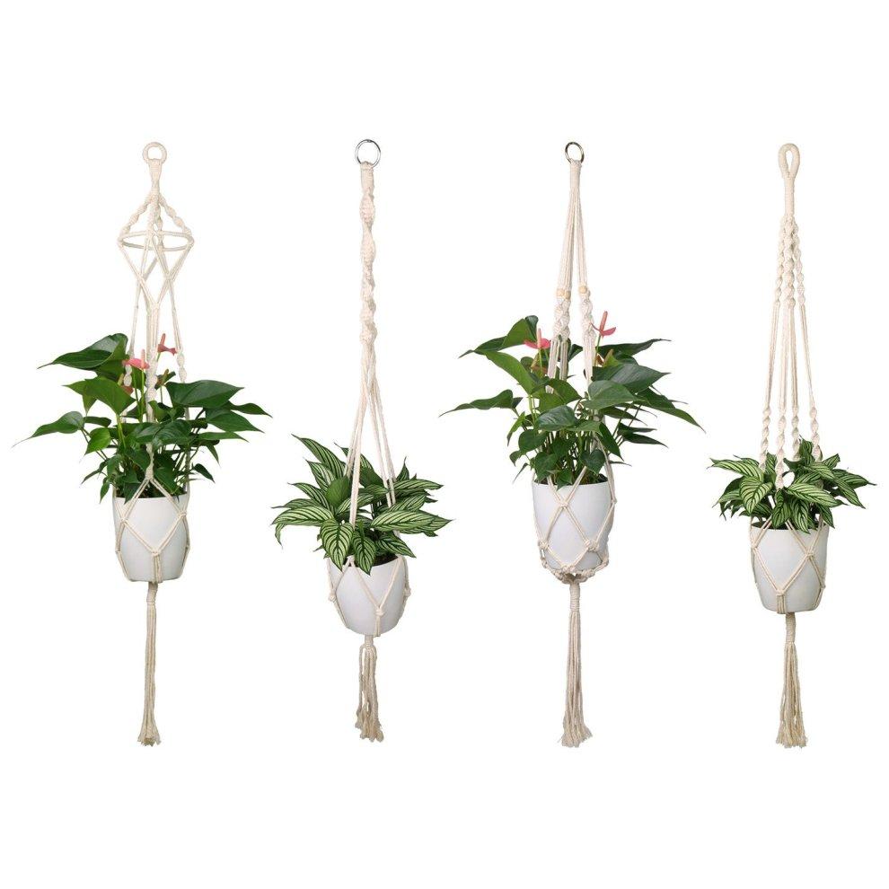 Luxbon 4 Pack Macrame Plant Hangers Indoor White Cotton Rope Flower Pot Hanging Planter Basket Holder for Ceiling Outdoor Garden Home Decor (4... on OnBuy  sc 1 st  OnBuy & Luxbon 4 Pack Macrame Plant Hangers Indoor White Cotton Rope Flower ...