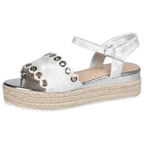 Blessing Womens Fashion Eyelets Espadrille Platform  Summer Ankle Strap Sandals