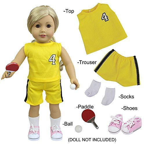 "American Girl Doll Sports Clothes - 6 PCS Sporty Kit with Table Tennis, Paddle, Socks & Shoes Outfit for 18"" dolls - by ZITA ELEMENT"
