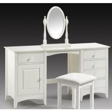 Treck White Stone Dressing Table Twin Pedestal - Fully Assembled Option