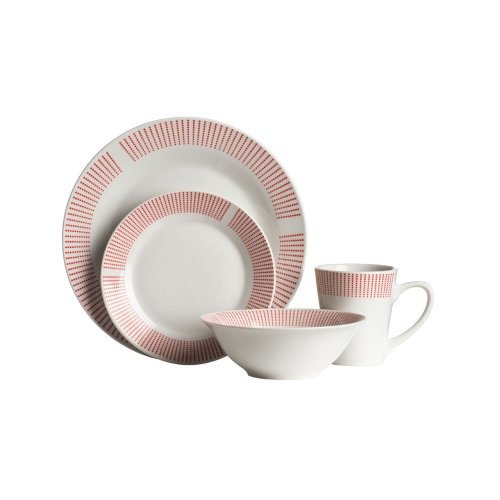 16Pc Orange Lines Dinner Set, Porcelain