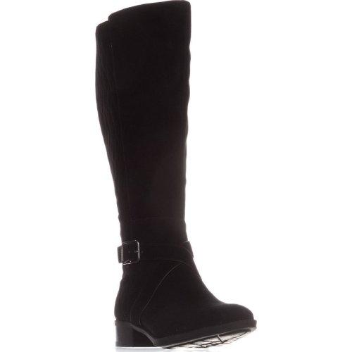 DKNY Mattie Flat Knee-High Boots, Black Suede, 5 UK