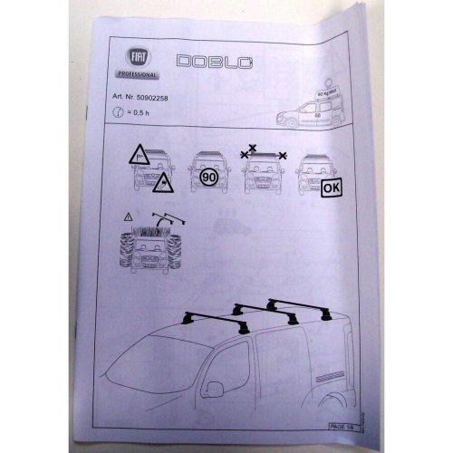 Fiat Doblo Genuine New 3 Cross Bar Roof Kit 50902258 2010 Onwards