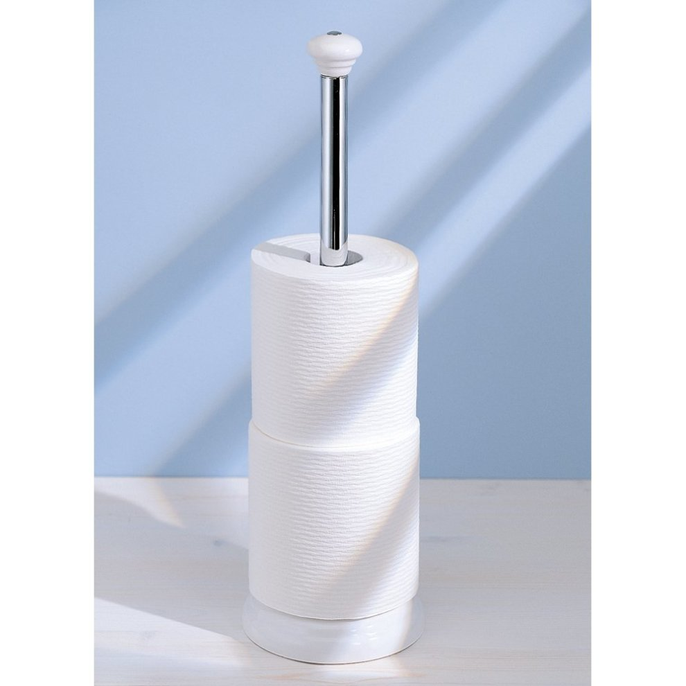 3e696d0f14c6ae ... InterDesign York Bathroom Free Standing Toilet Paper Roll Holder, White/ Chrome - 1 ...