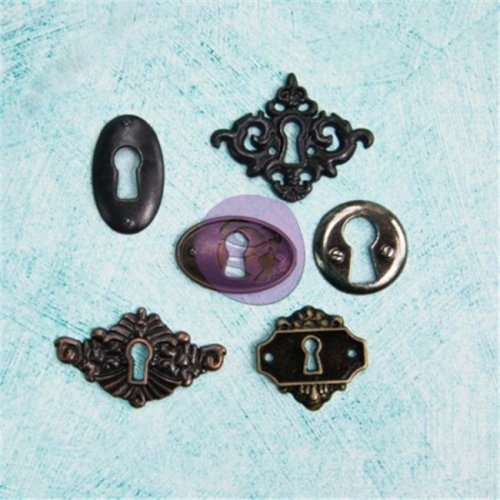 Junkyard Findings Metal Embellishments-Key Holes 6 Pieces