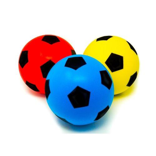 E-Deals 20cm Soft Foam Football - Pack of 1 Blue + 1 Red + 1 Yellow