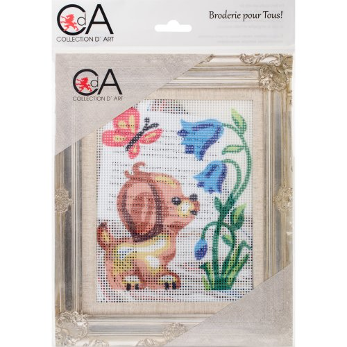 Collection D'art Stamped Needlepoint Kit 14X18cm-Puppy With Butterfly