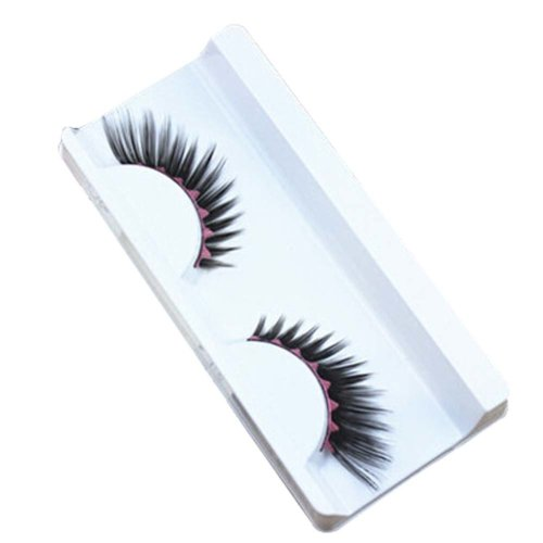 Set of 3 Black Inkjet Style Pink Wavy Stripe Pattern Stage False Eyelashes