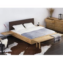 Wooden Bed - Super King Size - 6 ft - incl. stable slatted frame - Upholstered Headboard - Brown ARRAS