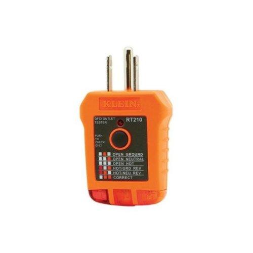 Klein Tools RT210 GFCI Receptacle Tester  Orange