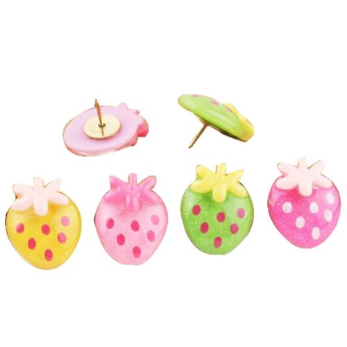9 Pcs Creative Pushpin Push Pin Thumbtack Office Supplies, Strawberry