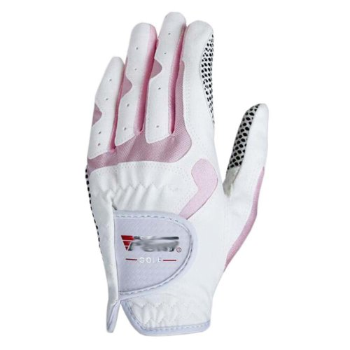 Classic Simple Design Women Golf Gloves Non-slip Sport Gloves(White&Pink) #21