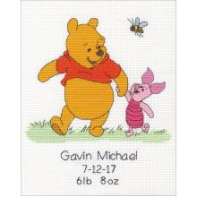 """Dimensions/Disney Counted Cross Stitch Kit 8""""X10""""-Winnie The Pooh Birth Record (14 Count)"""