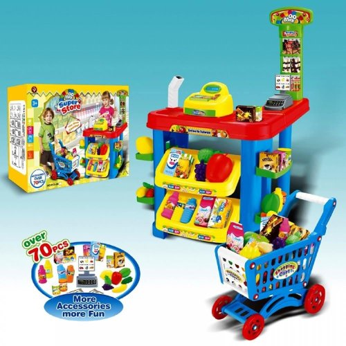 Electronic Toy Supermarket Shopping Trolley Shop Till Pretend Food Role Play Set
