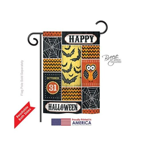 Breeze Decor 62060 Halloween Halloween Happy 2-Sided Impression Garden Flag - 13 x 18.5 in.