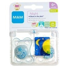 Mam Night 0+m Soother - Boy (blue/white)