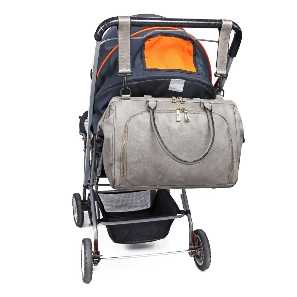 ab887aa2e910d ... Miss Lulu 3 Pieces Baby Nappy Diaper Changing Bag PU Leather Grey - 1  ...
