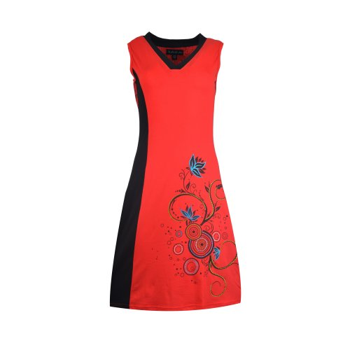 Ladies sleeveless dress with floral print and mandala embroidery work