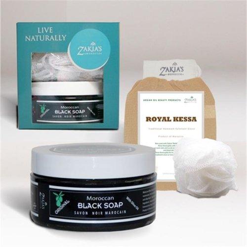 Zakias Morocco Spec-101 Black Soap & Kessa Exfoliating Treatment Glove, Original - 8 oz