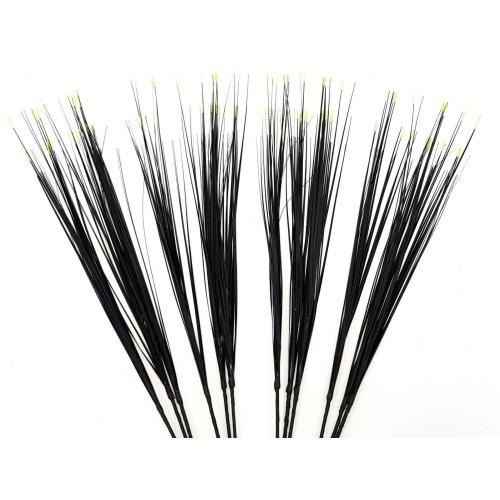 Set of 12 Artificial Colour Tip Grass Spray - 80cm - Black Grass with Cream Tips